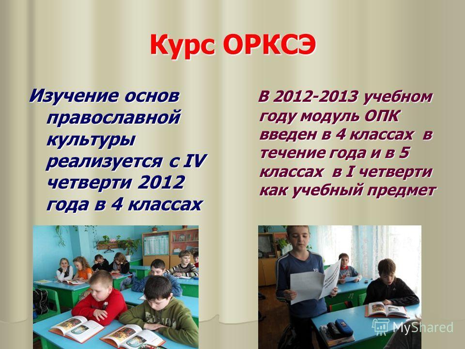 Курс ОРКСЭ Изучение основ православной культуры реализуется с IV четверти 2012 года в 4 классах В 2012-2013 учебном году модуль ОПК введен в 4 классах в течение года и в 5 классах в I четверти как учебный предмет В 2012-2013 учебном году модуль ОПК в