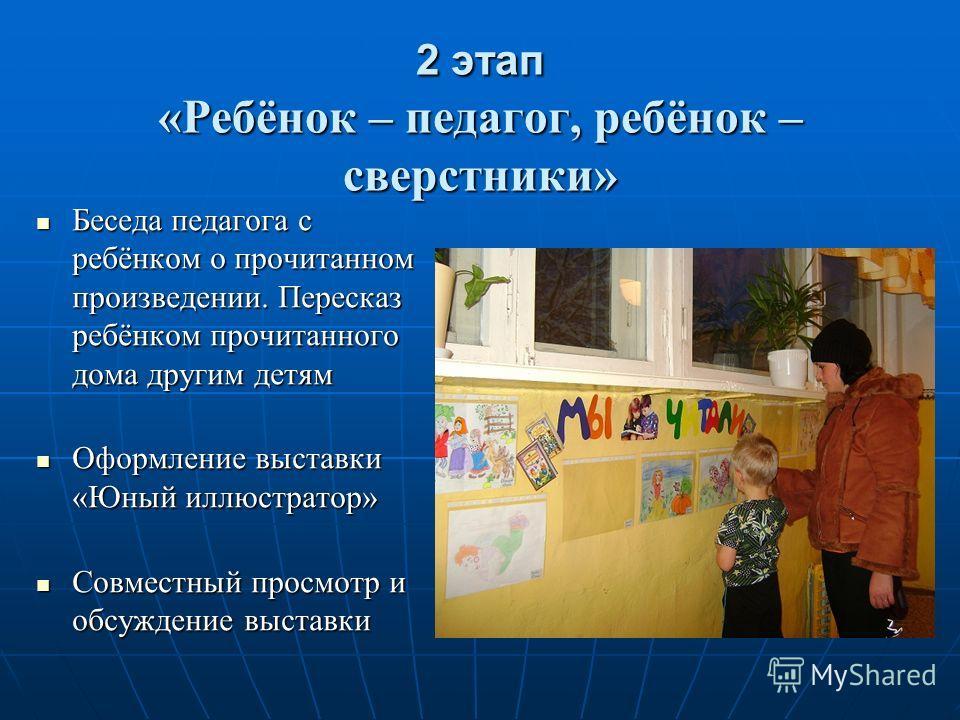 2 этап «Ребёнок – педагог, ребёнок – сверстники» Беседа педагога с ребёнком о прочитанном произведении. Пересказ ребёнком прочитанного дома другим детям Беседа педагога с ребёнком о прочитанном произведении. Пересказ ребёнком прочитанного дома другим