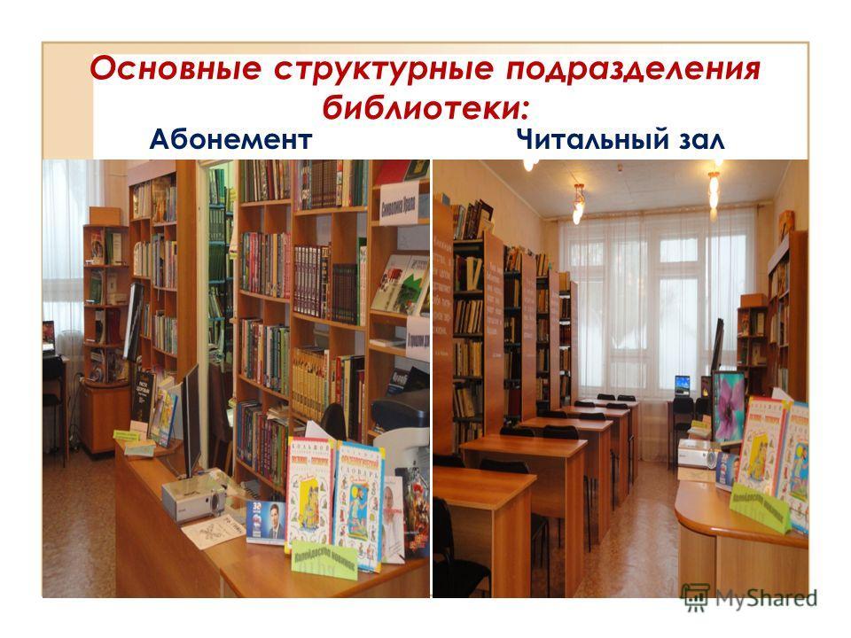 Основные структурные подразделения библиотеки: Абонемент Читальный зал
