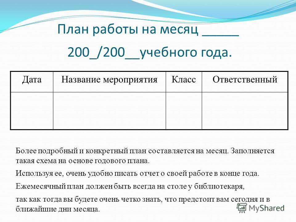 План работы на месяц _____ 200_/200__учебного года. Дата Название мероприятия КлассОтветственный Более подробный и конкретный план составляется на месяц. Заполняется такая схема на основе годового плана. Используя ее, очень удобно писать отчет о свое