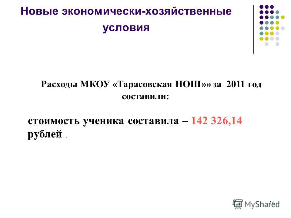 13 Новые экономически-хозяйственные условия Расходы МКОУ «Тарасовская НОШ»» за 2011 год составили: стоимость ученика составила – 142 326,14 рублей.