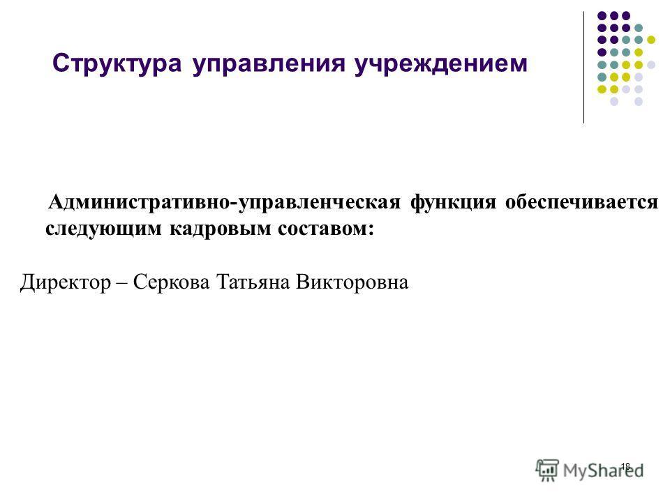 18 Структура управления учреждением Административно-управленческая функция обеспечивается следующим кадровым составом: Директор – Серкова Татьяна Викторовна