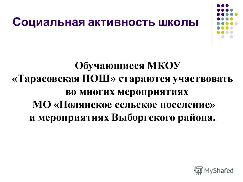20 Социальная активность школы Обучающиеся МКОУ «Тарасовская НОШ» стараются участвовать во многих мероприятиях МО «Полянское сельское поселение» и мероприятиях Выборгского района.