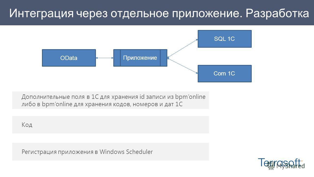 Интеграция через отдельное приложение. Разработка Дополнительные поля в 1С для хранения id записи из bpmonline либо в bpmonline для хранения кодов, номеров и дат 1С Код Регистрация приложения в Windows Scheduler SQL 1C OData Приложение Com 1C