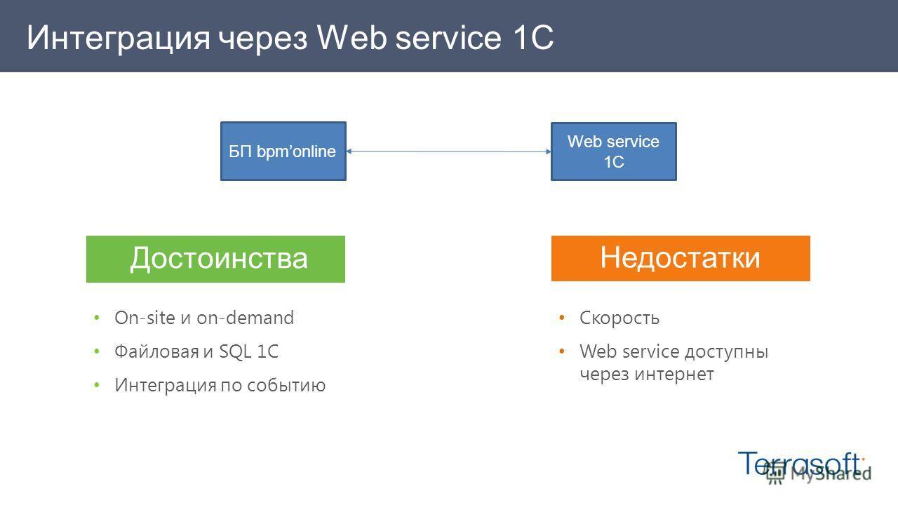Интеграция через Web service 1C БП bpmonline Web service 1C Достоинства On-site и on-demand Файловая и SQL 1C Интеграция по событию Недостатки Скорость Web service доступны через интернет