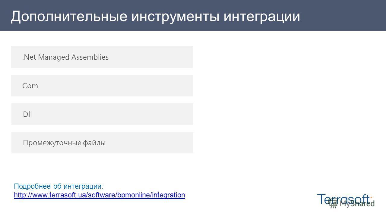 Дополнительные инструменты интеграции.Net Managed Assemblies Com Dll Промежуточные файлы Подробнее об интеграции: http://www.terrasoft.ua/software/bpmonline/integration http://www.terrasoft.ua/software/bpmonline/integration