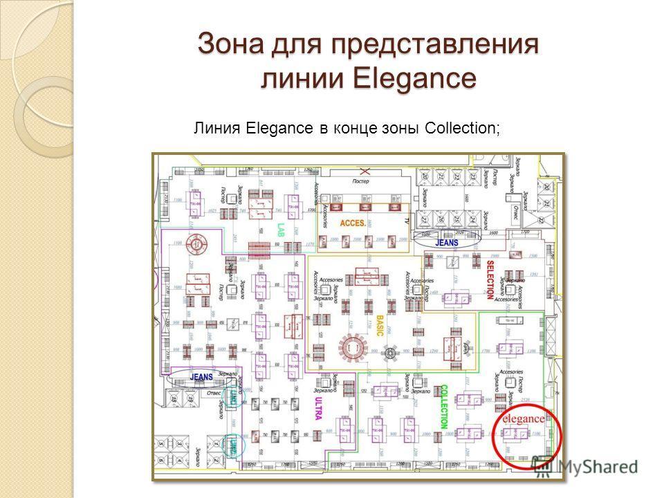 Линия Elegance в конце зоны Collection; Зона для представления линии Elegance