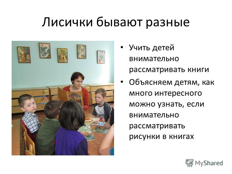 Лисички бывают разные Учить детей внимательно рассматривать книги Объясняем детям, как много интересного можно узнать, если внимательно рассматривать рисунки в книгах