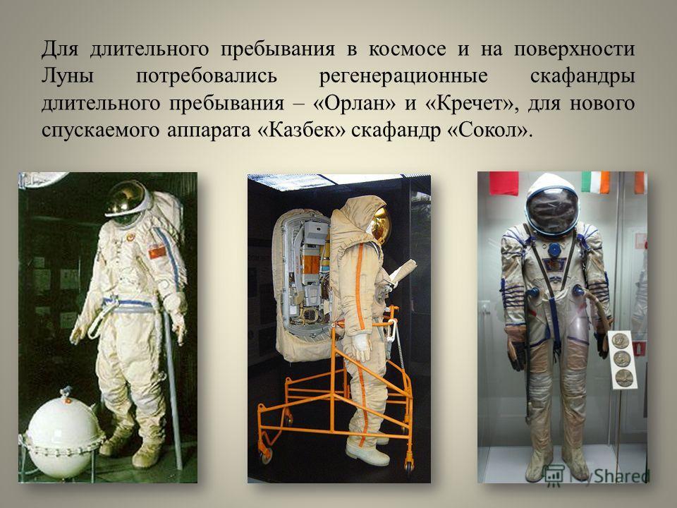 Для длительного пребывания в космосе и на поверхности Луны потребовались регенерационные скафандры длительного пребывания – «Орлан» и «Кречет», для нового спускаемого аппарата «Казбек» скафандр «Сокол».