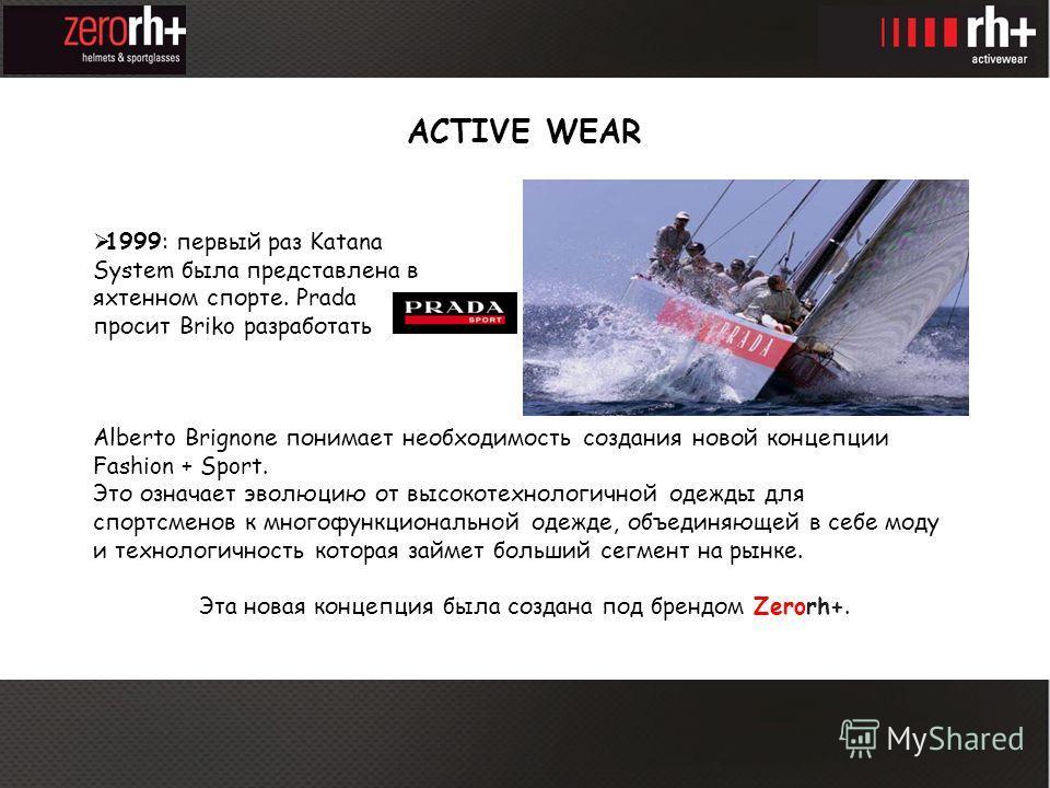 ACTIVE WEAR 1999: первый раз Katana System была представлена в яхтенном спорте. Prada просит Briko разработать line. Alberto Brignone понимает необходимость создания новой концепции Fashion + Sport. Это означает эволюцию от высокотехнологичной одежды