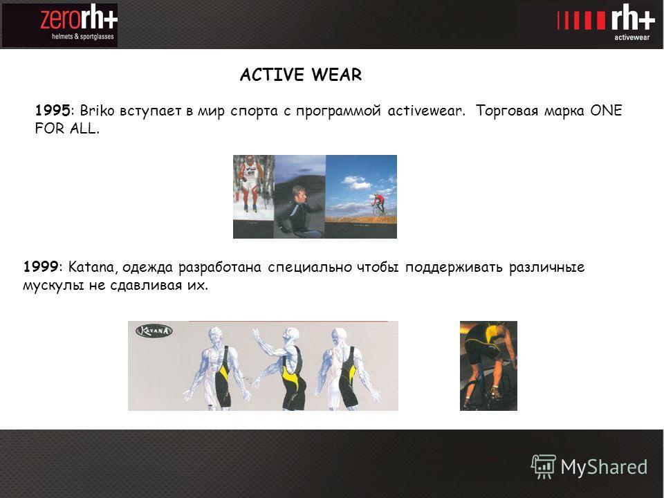 1995: Briko вступает в мир спорта с программой activewear. Торговая марка ONE FOR ALL. ACTIVE WEAR 1999: Katana, одежда разработана специально чтобы поддерживать различные мускулы не сдавливая их.