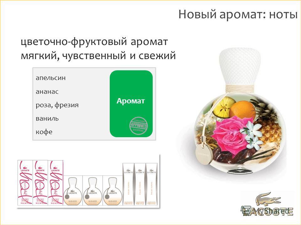 апельсин ананас роза, фрезия ваниль кофе Аромат Новый аромат: ноты цветочно-фруктовый аромат мягкий, чувственный и свежий