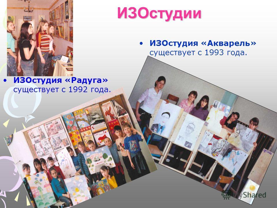 ИЗОстудии ИЗОстудия «Радуга» существует с 1992 года. ИЗОстудия «Акварель» существует с 1993 года.