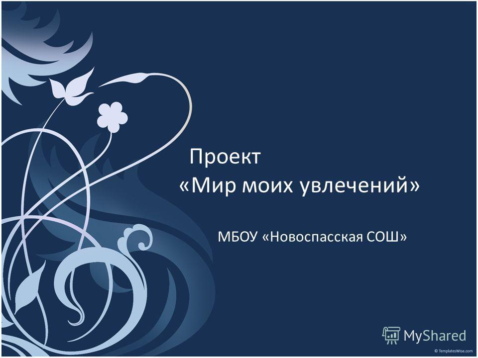 Проект «Мир моих увлечений» МБОУ «Новоспасская СОШ»