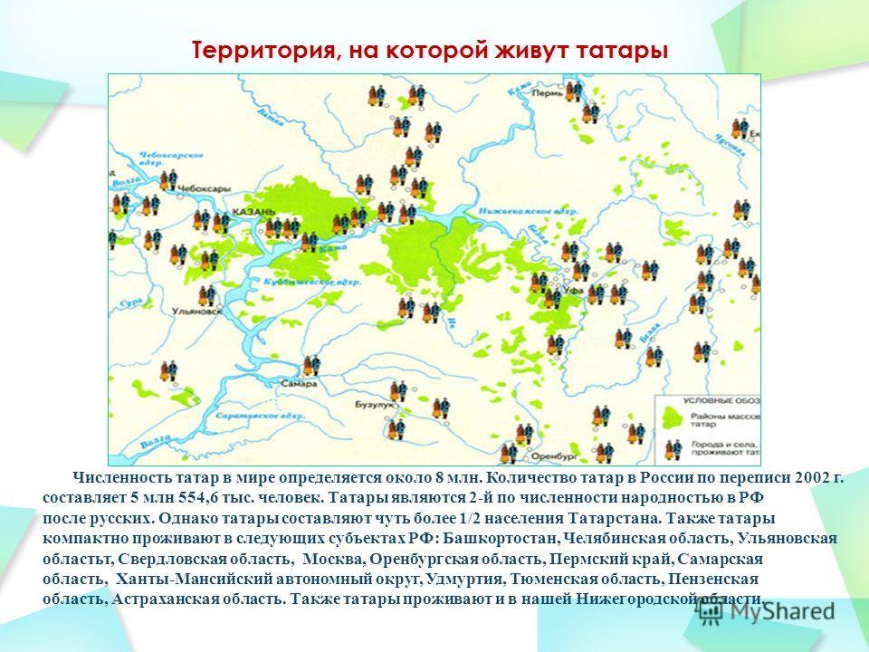 Численность татар в мире определяется около 8 млн. Количество татар в России по переписи 2002 г. составляет 5 млн 554,6 тыс. человек. Татары являются 2-й по численности народностью в РФ после русских. Однако татары составляют чуть более 1/2 населения