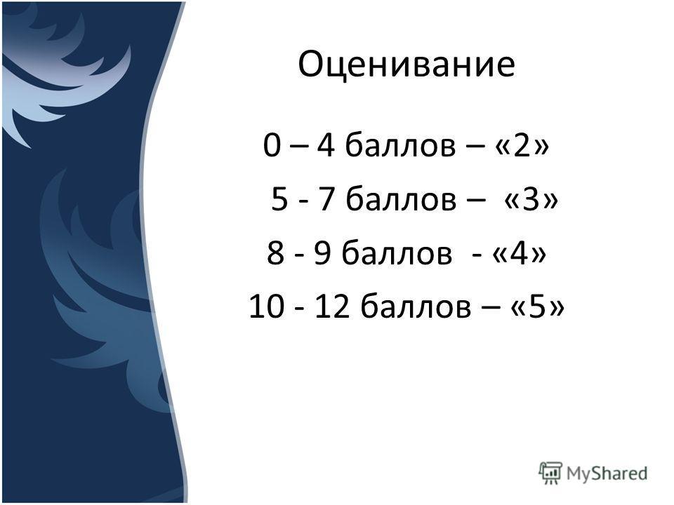 Оценивание 0 – 4 баллов – «2» 5 - 7 баллов – «3» 8 - 9 баллов - «4» 10 - 12 баллов – «5»
