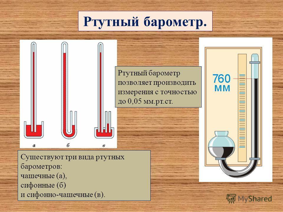 Ртутный барометр. Существуют три вида ртутных барометров: чашечные (а), сифонные (б) и сифонно-чашечные (в). Ртутный барометр позволяет производить измерения с точностью до 0,05 мм.рт.ст.