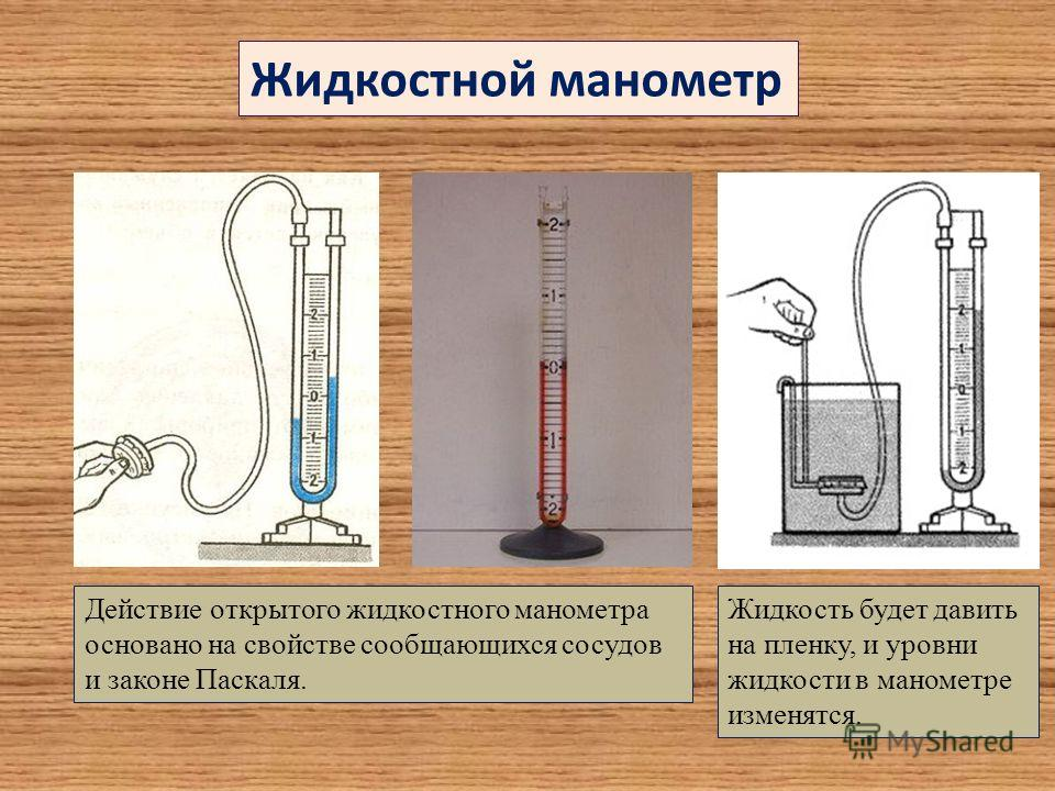 Действие открытого жидкостного манометра основано на свойстве сообщающихся сосудов и законе Паскаля. Жидкостной манометр Жидкость будет давить на пленку, и уровни жидкости в манометре изменятся.