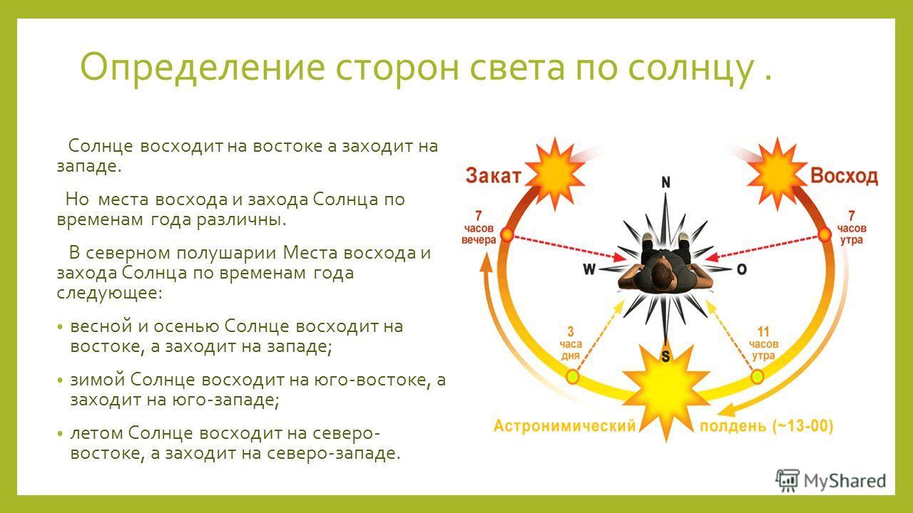Определение сторон света по солнцу. Солнце восходит на востоке а заходит на западе. Но места восхода и захода Солнца по временам года различны. В северном полушарии Места восхода и захода Солнца по временам года следующее: весной и осенью Солнце восх