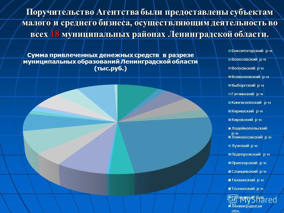 Поручительство Агентства были предоставлены субъектам малого и среднего бизнеса, осуществляющим деятельность во всех 18 муниципальных районах Ленинградской области.