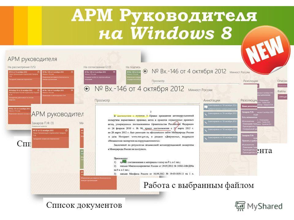 АРМ Руководителя на Windows 8 Список папок Список документов Просмотр документа Работа с выбранным файлом