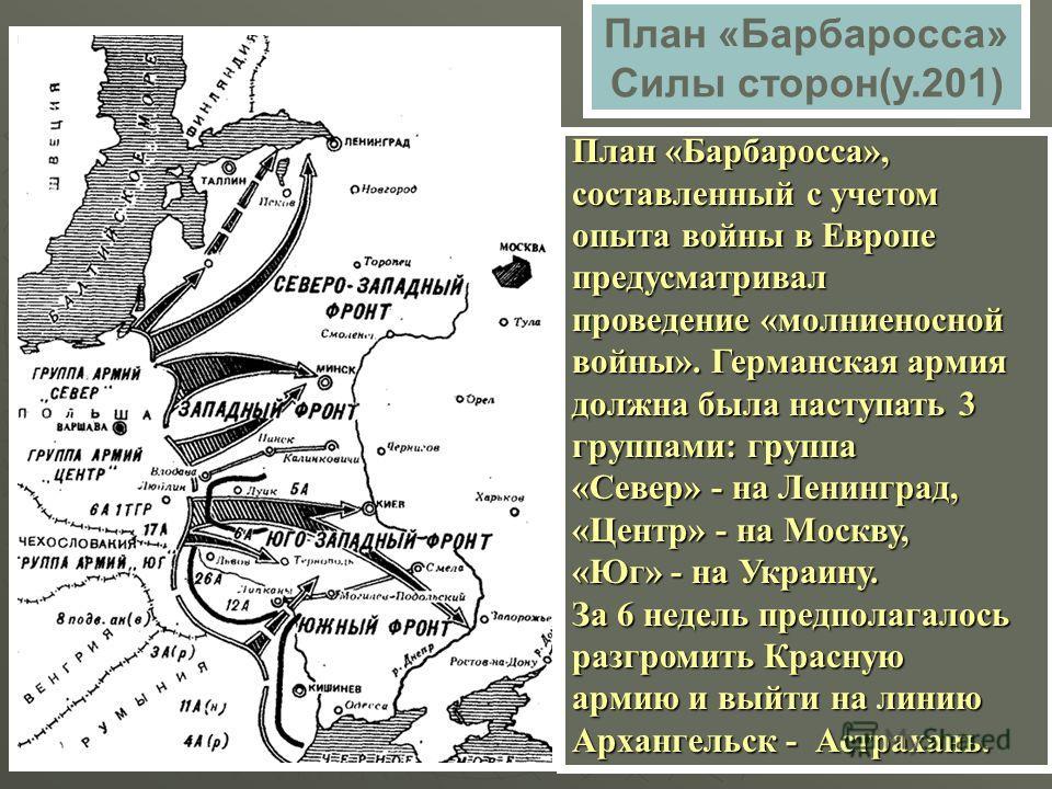 План «Барбаросса» Силы сторон(у.201) План «Барбаросса», составленный с учетом опыта войны в Европе предусматривал проведение «молниеносной войны». Германская армия должна была наступать 3 группами: группа «Север» - на Ленинград, «Центр» - на Москву,