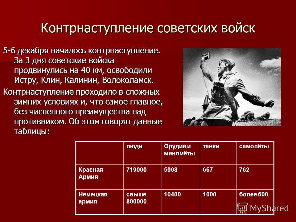 Контрнаступление советских войск 5-6 декабря началось контрнаступление. За 3 дня советские войска продвинулись на 40 км, освободили Истру, Клин, Калинин, Волоколамск. Контрнаступление проходило в сложных зимних условиях и, что самое главное, без числ
