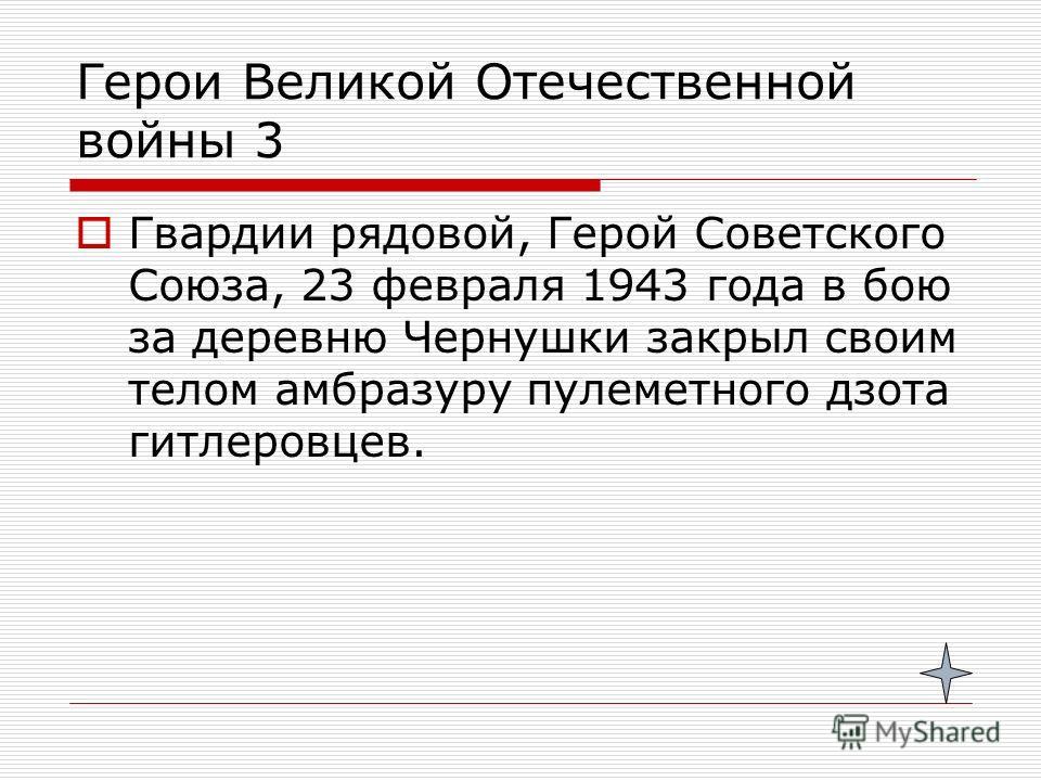 Герои Великой Отечественной войны 3 Гвардии рядовой, Герой Советского Союза, 23 февраля 1943 года в бою за деревню Чернушки закрыл своим телом амбразуру пулеметного дзота гитлеровцев.