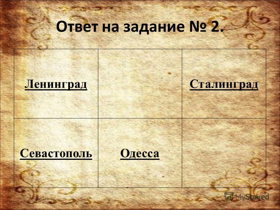 Ответ на задание 2. Ленинград Сталинград Севастополь Одесса