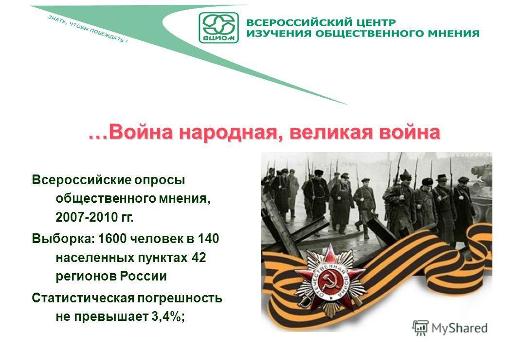 …Война народная, великая война Всероссийские опросы общественного мнения, 2007-2010 гг. Выборка: 1600 человек в 140 населенных пунктах 42 регионов России Статистическая погрешность не превышает 3,4%;