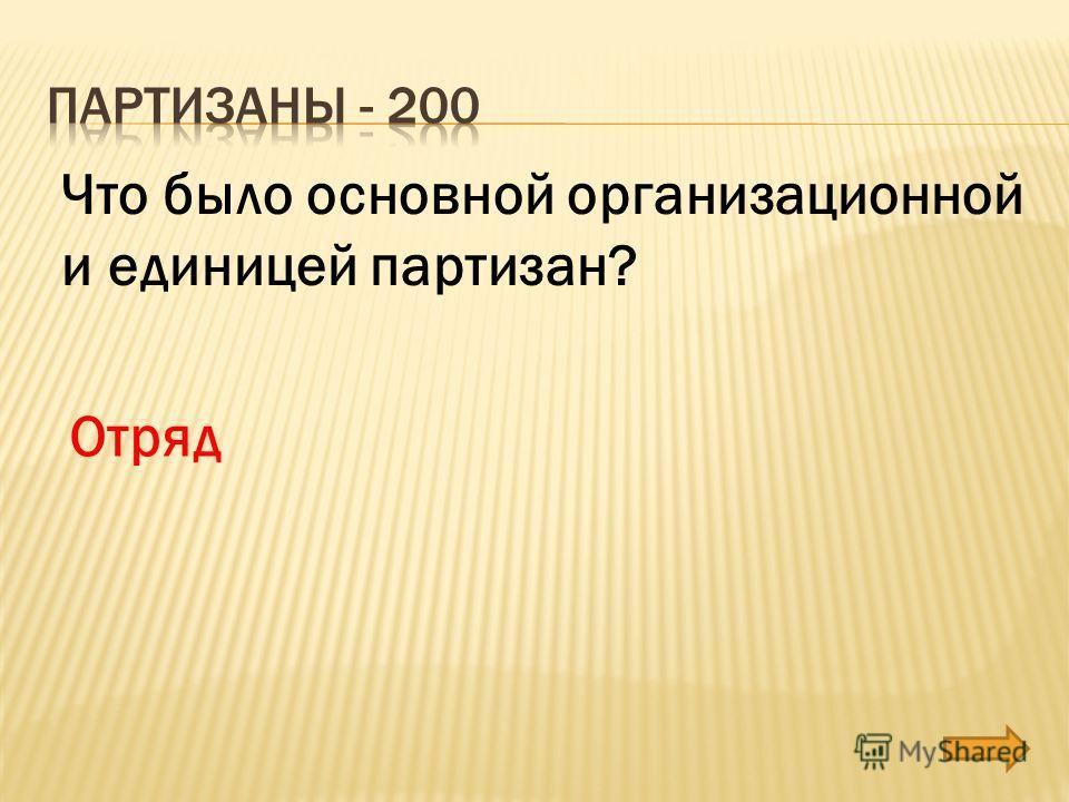 Что было основной организационной и единицей партизан? Отряд