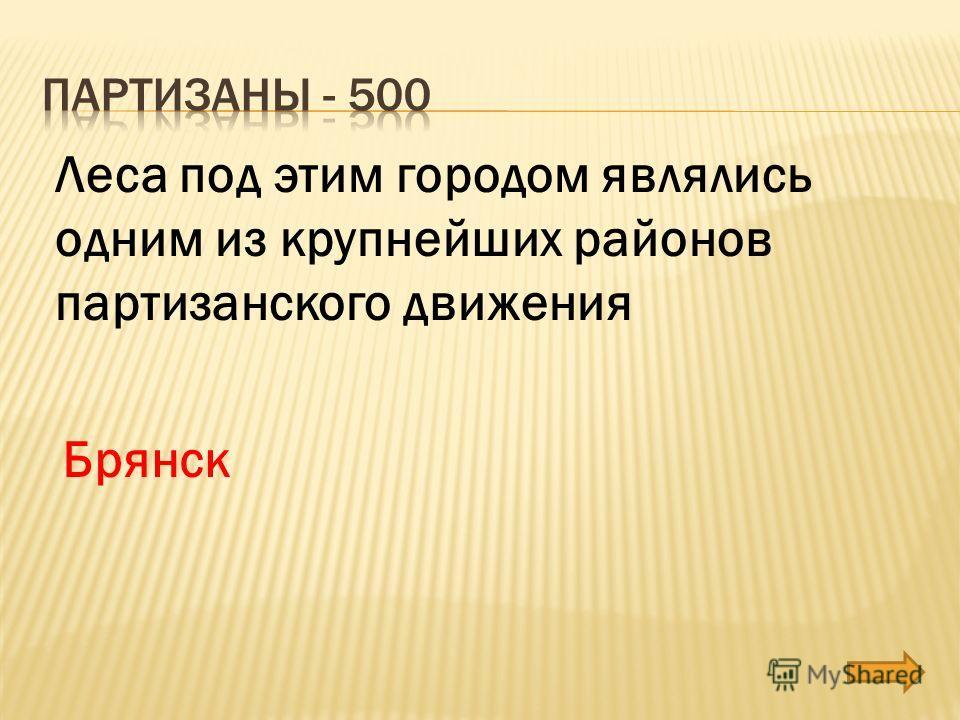 Леса под этим городом являлись одним из крупнейших районов партизанского движения Брянск