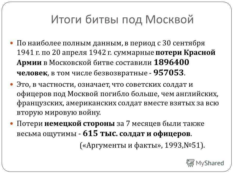 Итоги битвы под Москвой По наиболее полным данным, в период с 30 сентября 1941 г. по 20 апреля 1942 г. суммарные потери Красной Армии в Московской битве составили 1896400 человек, в том числе безвозвратные - 957053. Это, в частности, означает, что со