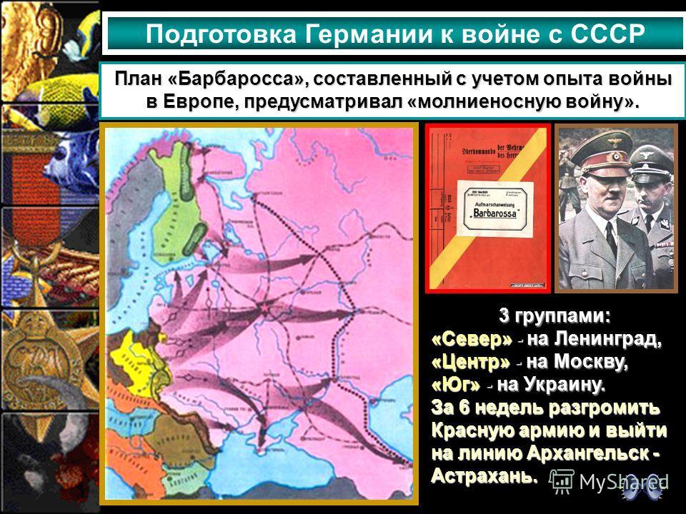 Подготовка Германии к войне с СССР План «Барбаросса», составленный с учетом опыта войны в Европе, предусматривал «молниеносную войну». 3 группами: «Север» - на Ленинград, «Центр» - на Москву, «Юг» - на Украину. За 6 недель разгромить Красную армию и