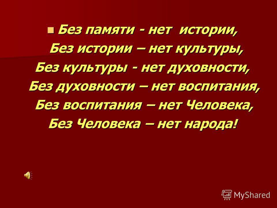 Без памяти - нет истории, Без памяти - нет истории, Без истории – нет культуры, Без истории – нет культуры, Без культуры - нет духовности, Без духовности – нет воспитания, Без духовности – нет воспитания, Без воспитания – нет Человека, Без воспитания