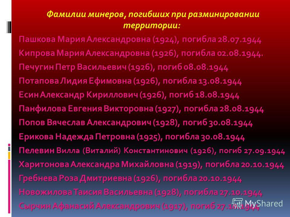 Фамилии минеров, погибших при разминировании территории: Пашкова Мария Александровна (1924), погибла 28.07.1944 Кипрова Мария Александровна (1926), погибла 02.08.1944. Печугин Петр Васильевич (1926), погиб 08.08.1944 Потапова Лидия Ефимовна (1926), п