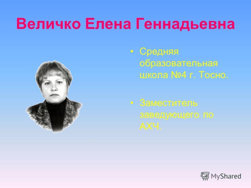 Средняя образовательная школа 4 г. Тосно. Заместитель заведующего по АХЧ. Величко Елена Геннадьевна