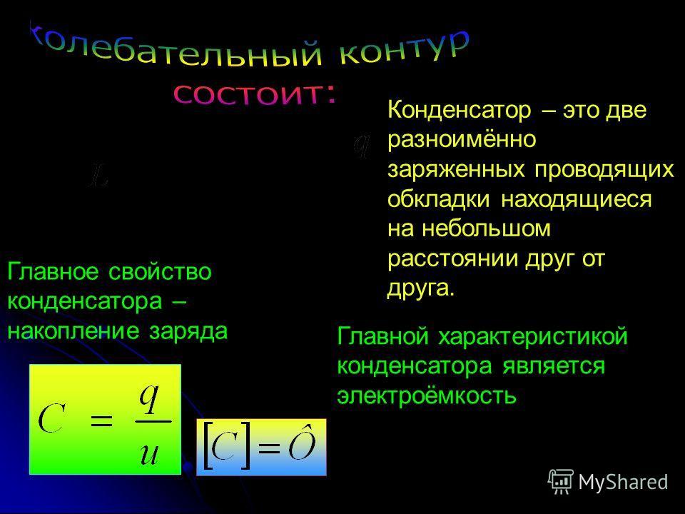 Конденсатор – это две разноимённо заряженных проводящих обкладки находящиеся на небольшом расстоянии друг от друга. Главное свойство конденсатора – накопление заряда Главной характеристикой конденсатора является электроёмкость