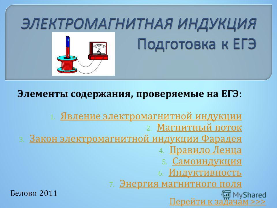 Белово 2011 Элементы содержания, проверяемые на ЕГЭ: 1. Явление электромагнитной индукции Явление электромагнитной индукции 2. Магнитный поток Магнитный поток 3. Закон электромагнитной индукции Фарадея Закон электромагнитной индукции Фарадея 4. Прави