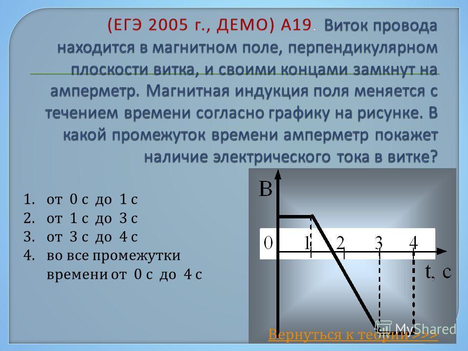 1. от 0 с до 1 с 2. от 1 с до 3 с 3. от 3 с до 4 с 4. во все промежутки времени от 0 с до 4 с Вернуться к теории >>>