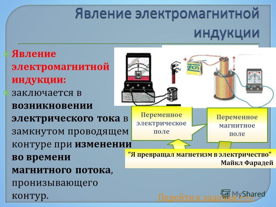 Явление электромагнитной индукции: заключается в возникновении электрического тока в замкнутом проводящем контуре при изменении во времени магнитного потока, пронизывающего контур. Перейти к задачам >>> Переменное электрическое поле Переменное магнит