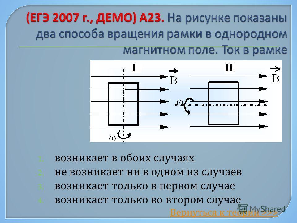 1. возникает в обоих случаях 2. не возникает ни в одном из случаев 3. возникает только в первом случае 4. возникает только во втором случае Вернуться к теории >>>
