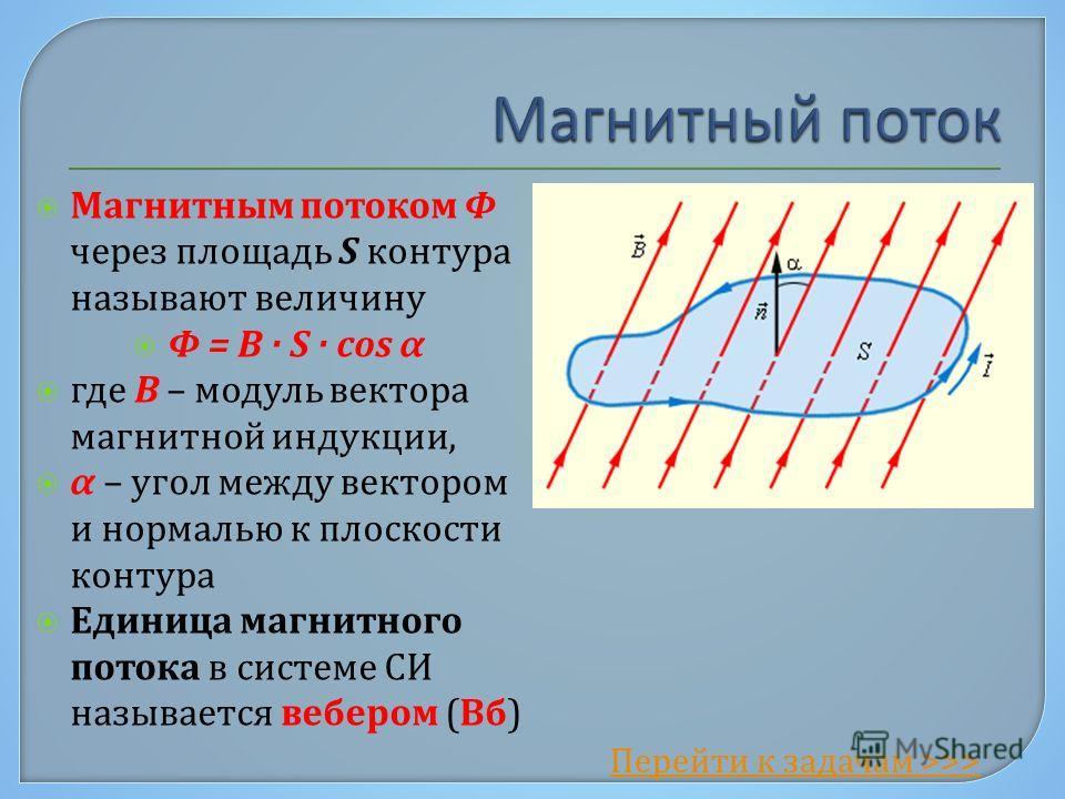 Магнитным потоком Φ через площадь S контура называют величину Φ = B · S · cos α где B – модуль вектора магнитной индукции, α – угол между вектором и нормалью к плоскости контура Единица магнитного потока в системе СИ называется вебером (Вб) Перейти к