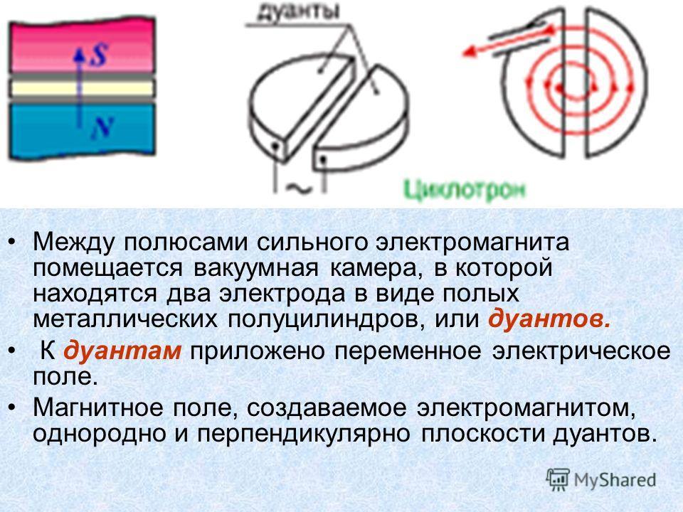 Между полюсами сильного электромагнита помещается вакуумная камера, в которой находятся два электрода в виде полых металлических полуцилиндров, или дуантов. К дуантам приложено переменное электрическое поле. Магнитное поле, создаваемое электромагнито