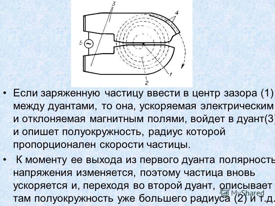 Если заряженную частицу ввести в центр зазора (1) между дуантами, то она, ускоряемая электрическим и отклоняемая магнитным полями, войдет в дуант(3) и опишет полуокружность, радиус которой пропорционален скорости частицы. К моменту ее выхода из перво