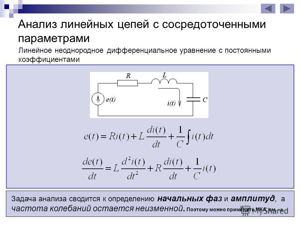 Анализ линейных цепей с сосредоточенными параметрами при гармоническом воздействии y – искомая реакция цепи (ток или напряжение какой-либо ветви) a 0, a 1, … a – коэффициенты, определяемые параметрами элементов цепи Линейное неоднородное дифференциал