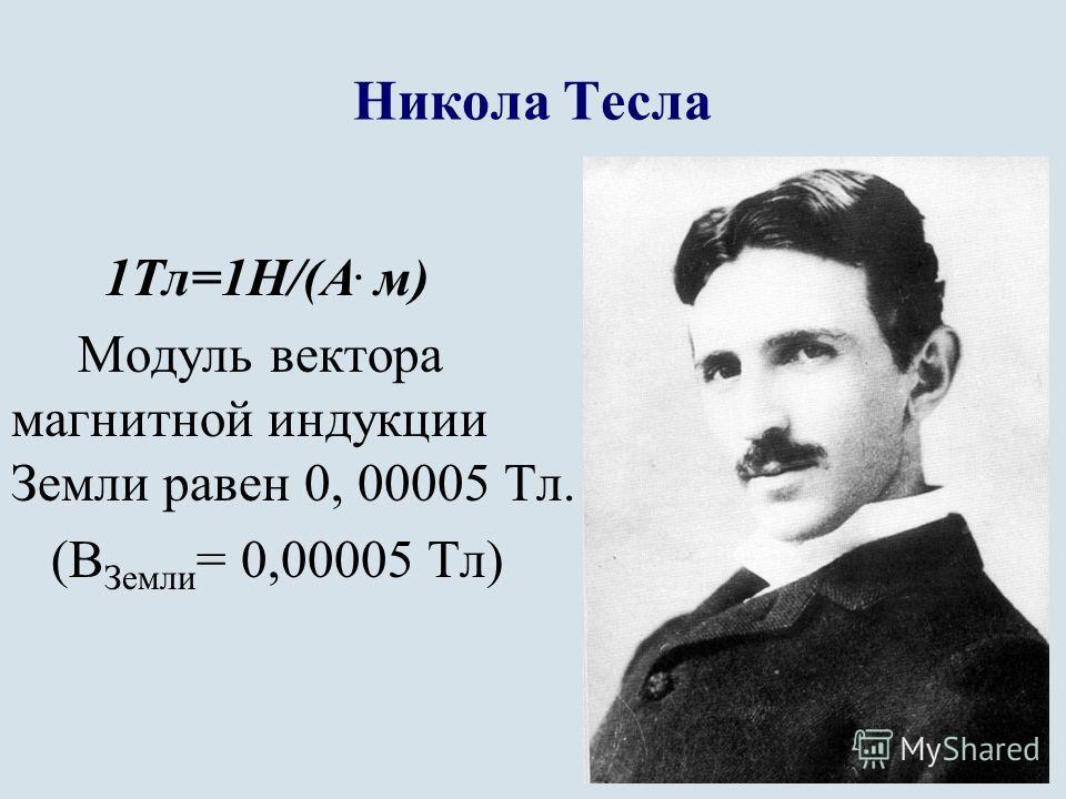 Никола Тесла 1Тл=1Н/(А. м) Модуль вектора магнитной индукции Земли равен 0, 00005 Тл. (В Земли = 0,00005 Тл)