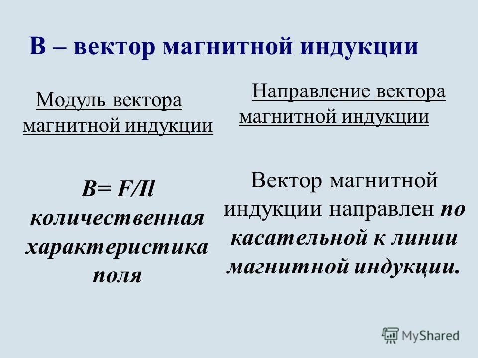 В – вектор магнитной индукции Модуль вектора магнитной индукции В= F/Il количественная характеристика поля Направление вектора магнитной индукции Вектор магнитной индукции направлен по касательной к линии магнитной индукции.