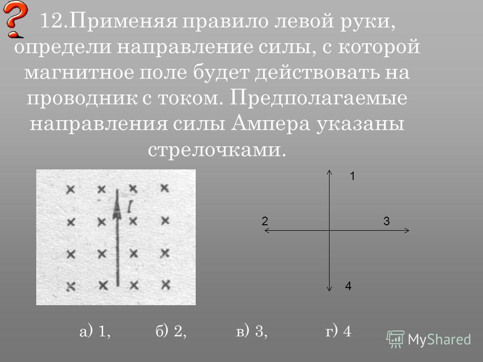 12. Применяя правило левой руки, определи направление силы, с которой магнитное поле будет действовать на проводник с током. Предполагаемые направления силы Ампера указаны стрелочками. 1 23 4 а) 1, б) 2, в) 3, г) 4