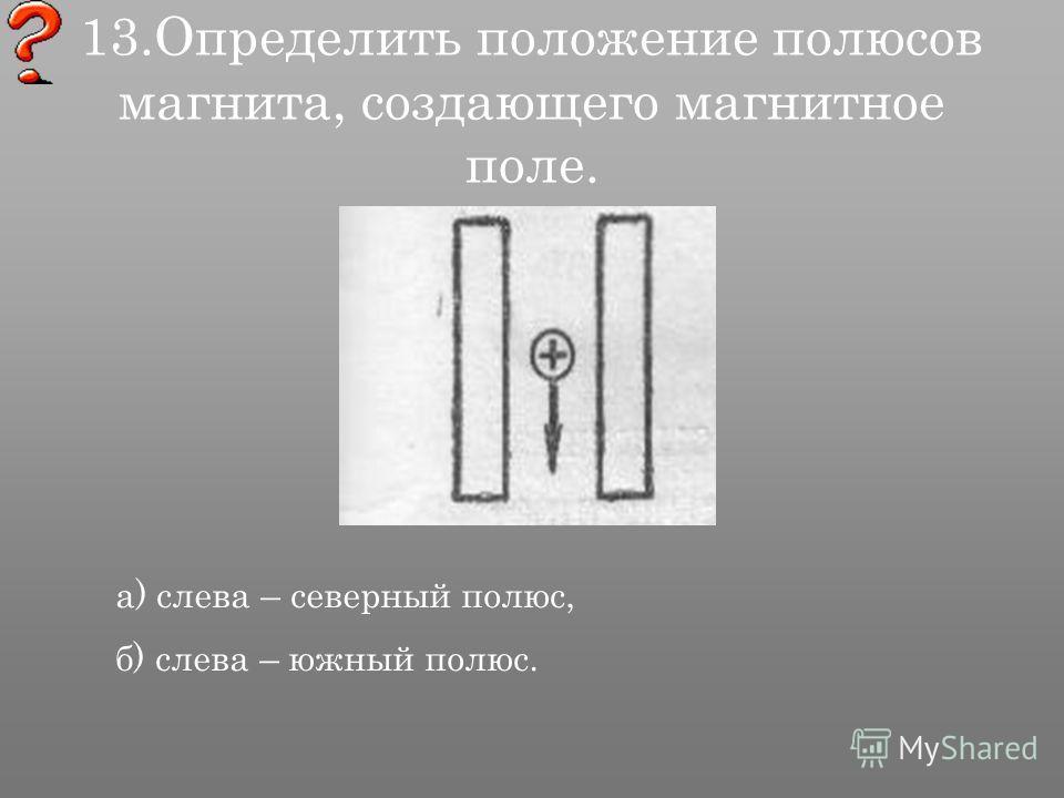 13. Определить положение полюсов магнита, создающего магнитное поле. а) слева – северный полюс, б) слева – южный полюс.